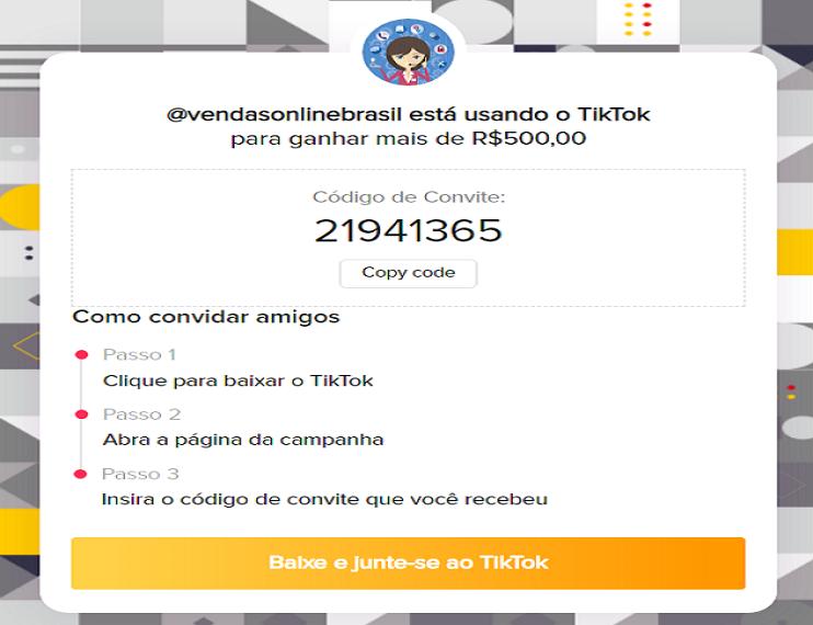 codigo convite blog vendas online brasil